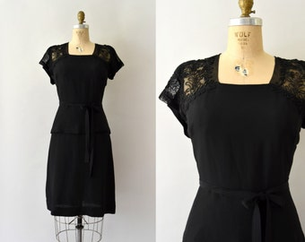 1940s Vintage Dress - 40s Black Rayon Dress  Peplum Waist