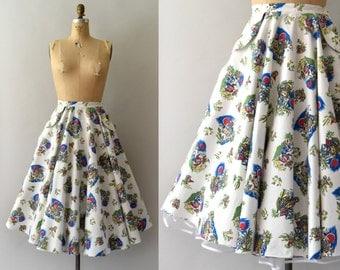 1950s Vintage Skirt - 50s Novelty Cotton Mexican Print Tourist Skirt