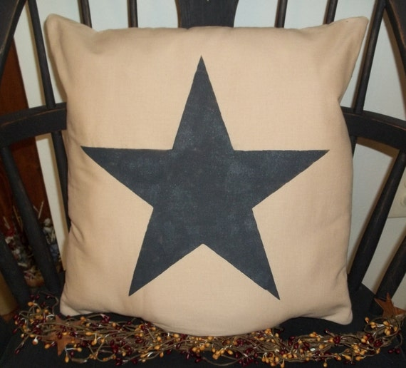 UNSTUFFED Primitive Pillow COVER Black Star Country Home Decor
