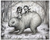 The Mega Fauna Wombat Riders - Limited Edition signed numbered 8x10 Children of the Nephilim Fine Art Print by Mab Graves -unframed
