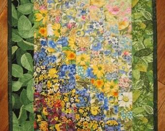 Summer Cottage Garden Flowers Art Quilt, Fabric Wall Hanging, Sunshine Summer Flowers Garden Blue Yellow Pink, Watercolor Quilt, Handmade