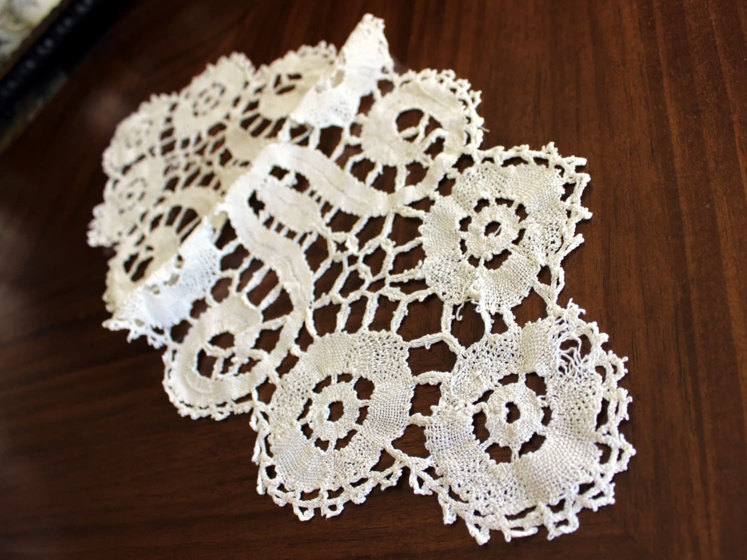 Lace table runner off white short centerpiece linens