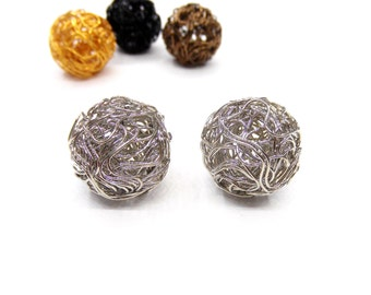 Rhodium Steel Wire Beads, Wire Ball Beads, Wire Mesh Beads, Round Wire Beads, Hollow Twist Wire Ball Beads, 18mm - 2 pieces
