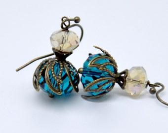 Blue Crystal Earrings, Teal Earrings, Blue Earrings, Antique Brass Earrings, Champagne Glass Earrings, Peacock Earrings, Crystal Jewelry