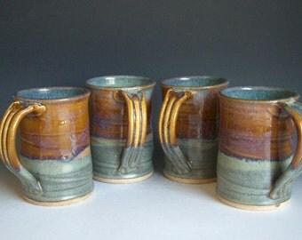 Hand thrown stoneware pottery mugs set of 4  (M-39)