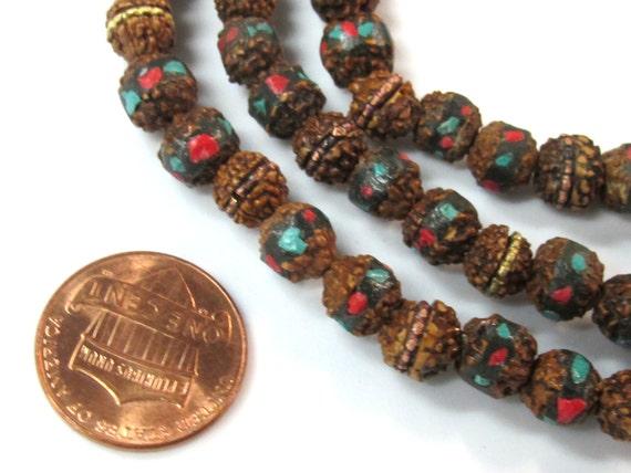 25 beads - 7 mm rudraksha mala beads with turquoise brass coral inlay - mala making supply - ML077C
