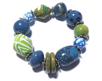 Kazuri Bangle, Blue Green White Khaki Ceramic Bracelet