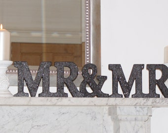 Glitter Mr and Mr sign top table Sign Wooden Mr & Mr letters, Wedding name Sign ,Wedding decoration, top table decor, Mr and Mr wedding sign