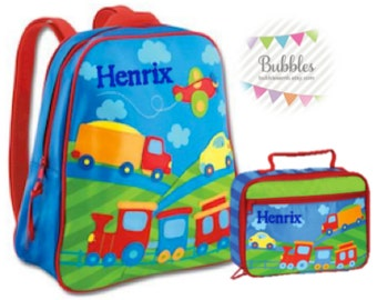 MONOGRAM INCLUDED Stephen Joseph Transportation Preschool Backpack and Lunchbox