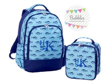 Boys Monogrammed Finn Lunchbox and Backpack SET- Free Personalization!!