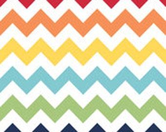 Laminated Cotton Oilcloth splat mat SELECT THE SIZE  bright rainbow chevron red orange yellow aqua green navy blue