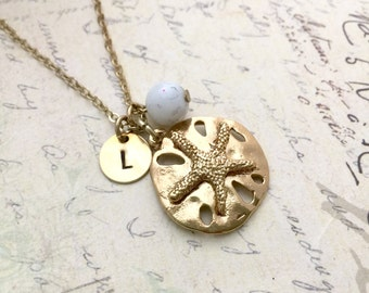 Sand Dollar Necklace, Initial Necklace, Hand stamped Necklace, Best friend Gift, Handmade Jewelry, Bridesmaid Gift, Friendship Necklace