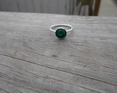 Green Swarovski Glass Cabochon Ring, Sterling Silver, Size 7