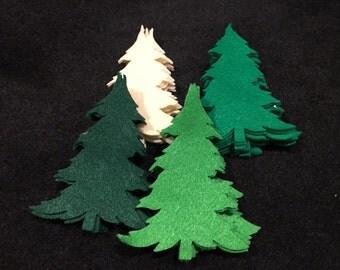 DIY Christmas Ornaments- Felt Tree Die Cuts -Quiet Books- Pine Trees Felt Pieces-Felt Embellishments-Appliques