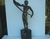 Antique Egyptian Art Deco Nude Bronze Female Snake Charmer Sculpture signed Schmidt.