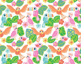 Blend Fabric's, See You Later Birds of Paradise (White) 1 yard