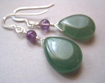 Aventurine Teardrop Earrings, Sterling Silver, Amethyst Earrings, Gemstone Earrings, Green Stone Earrings