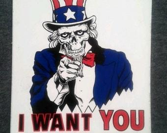"""Vintage Uncle Sam Skeleton Skateboard sticker """"I Want YOU to Skate Hard"""" Draft Poster Graphic 1980s"""