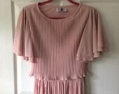 80s pink pleated dress church summer S M retro