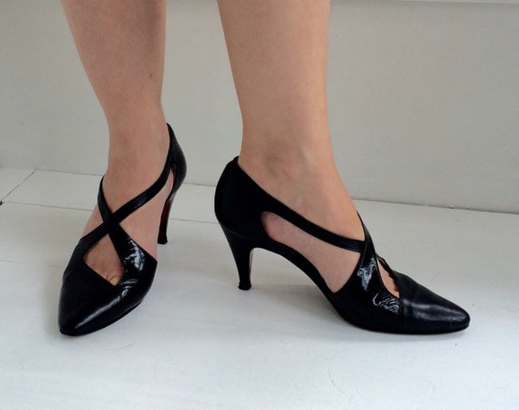 retro black heels peruzzi leather italy high heels shoes 5 1 2
