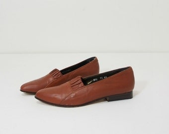 Vintage Glacee Brown Leather Modern Flats Size 7 Loafer
