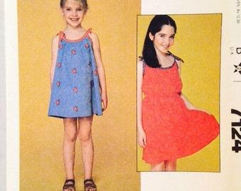 Uncut, McCalls Sewing Pattern 7124 Girls' Jumper Dress, Summer Sun Dress, Size 10, Vintage
