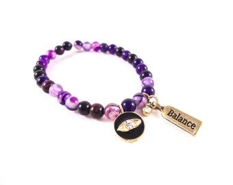 Evil Eye Bracelet - Purple Agate Bracelet - Protection Bracelet - Purple Jewelry - Gold Eye Bracelet - Gift for Women - Black Eye Bracelet