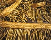 "Antique French Gold Metallic Bullion + Gimp Fringe 100"" Inches 1800 Passementerie"