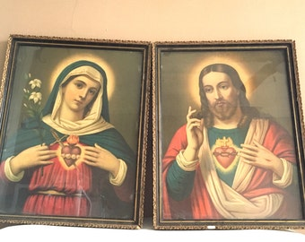 Beautiful Pair of 1920s Vintage Sacred Heart Prints