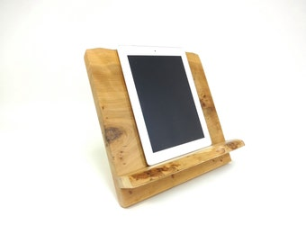 Cookbook Tablet iPad Stand Knotty Cherry Wood Live Edge  - Sustainable Harvest -  Timber Green Woods