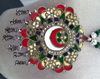 HUGE vintage India Rajasthan silver colored glass, mirror pendant amulet necklace, 263 grams gift for her
