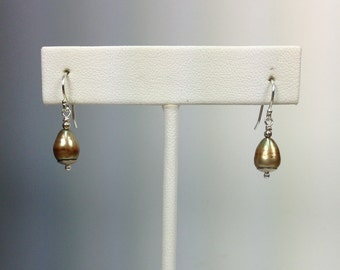 Spun Gold Pearl and Sterling Earrings