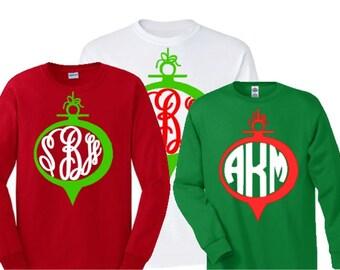 Christmas monogram shirt, YOUTH SIZED