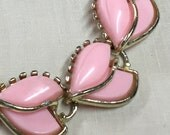 Vintage Pink Lucite Necklace - Pink and Gold 1950's Choker - Cut Lucite Pink Necklace - Pink Choker