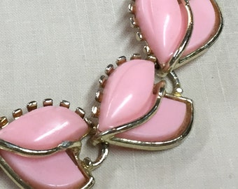 Vintage Pink Lucite Necklace - Black Friday Cyber Monday - Pink and Gold 1950's Choker - Cut Lucite Pink Necklace - Pink Choker