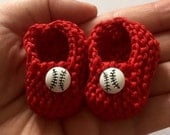 BACK IN STOCK Red white unisex baby shower decorations: little hand knit mini booties - 2 inches with baseball buttons - Boston Red Sox colo