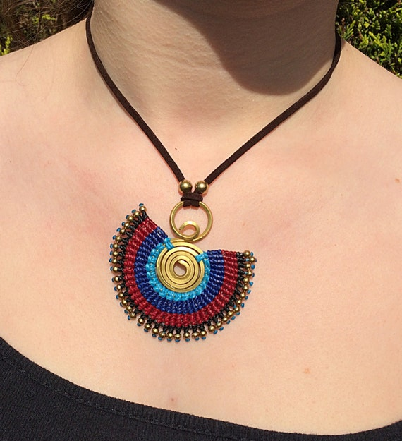 Handcrafted Brass Bead Waxed Neon Cotton Spiral Ethnic Bohemian Summer Necklace Pendant