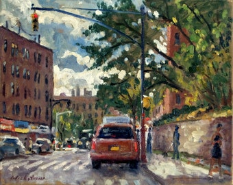 On Broadway, September in Inwood, NYC. 8x10 Oil on Canvas Cityscape, Urban Impressionist Fine Art, Signed Original Realist Oil Painting