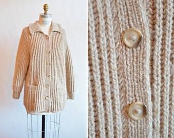 Vintage 1970s WOOL cardigan sweater