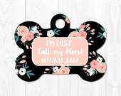 Dog Tag for Dogs Dog ID Tag Pet Gift Pet Tags Dog Tag for Dogs Pet ID Tag Floral Dog Tag ID Pink Custom Dog Tag Cute Dog Tag Custom Pet Tag