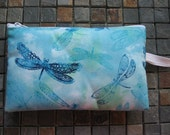 dragonfly turquoise print batik look large padded bag
