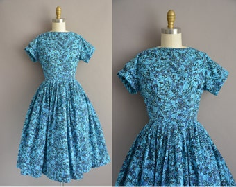 vintage Mode O Day 50s blue cotton print vintage dress