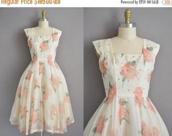 25% off SHOP SALE... 50s pink floral hydrangeas chiffon vintage dress / vintage 1950s dress