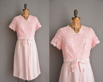 vintage 1950s dress / pink sequin dress / 50s silk dress