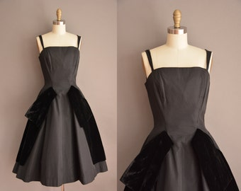 Gigi Young party dress / black grosgrain designer dress / vintage 1950s dress