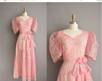 Anniversary SHOP SALE... 40s rare pink sequin puff sleeve vintage fantasy dress / vintage 1940s dress