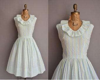 50s mint stripe cotton vintage dress / vintage 1950s dress