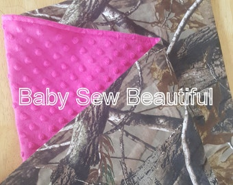 Custom Personalized Camouflage Baby Baby Blanket with your Choice of Minky Color