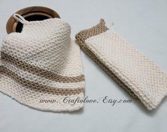 Knit dishcloth - Cotton dishcloth - Knit washcloth - 100% cotton washcloths - Spa cloth- New home Housewarming gift- Mother's Day gift