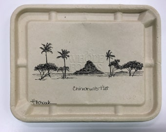 Chinaman's Hat original pen and ink drawing on Whole Foods lunchbox lid hawaii recycle reuse renew oahu islands palm trees